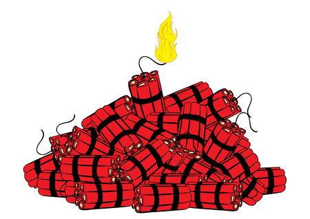 dinamita: Mecha ardiendo y un montón de dinamita