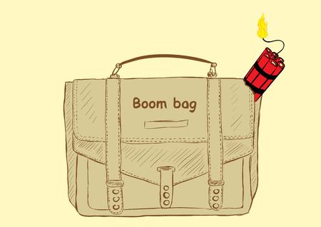 dinamita: dinamita roja explosivo en un bolso de escuela con una inscripción