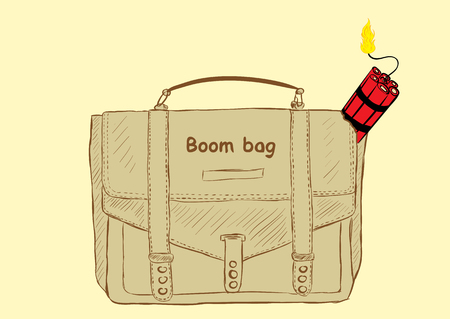 threat: Explosive red dynamite in a school bag with an inscription Illustration