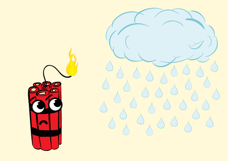 the wick: Sad dynamite with the burning wick and a cloud with the rain Illustration