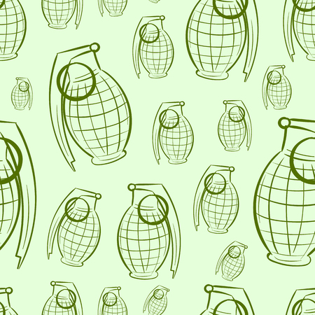 contours: Seamless texture with contours of grenades on a green background Illustration
