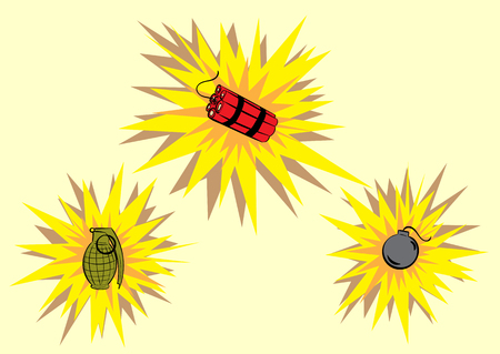 bomb explosion: Clipart with dynamite, a bomb and the grenade during explosion