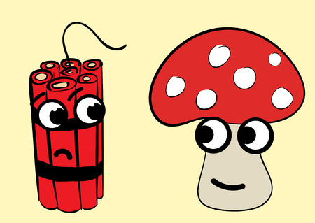 dissatisfied: Meeting of a poisonous happy fly agaric and dissatisfied dynamite