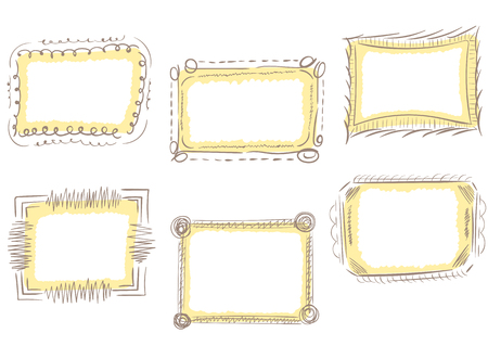 Set with a curve vector photoframe of brown color