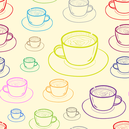 contours: Seamless texture with color contours of mugs Illustration