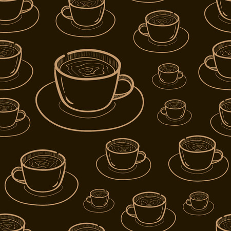 contours: Seamless texture with brown contours of mugs