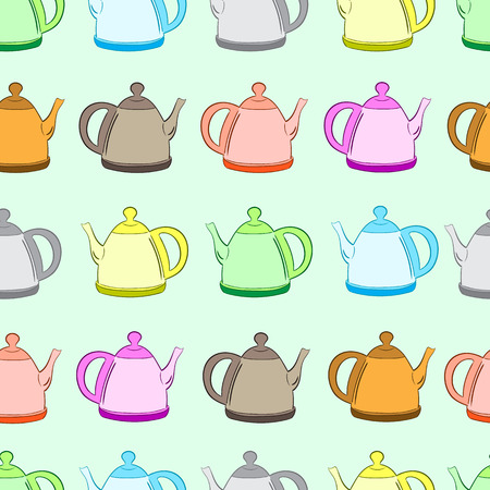 identical: Seamless texture with color identical teapots in a row Illustration