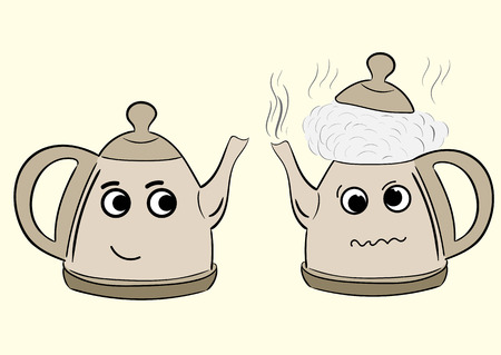 cranky: Conceptual illustration with the boiling mad teapot and with a smiling teapot