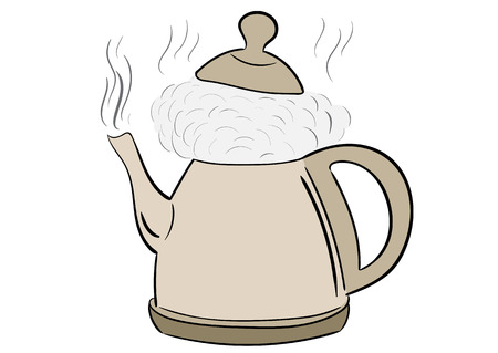 boiling: Conceptual illustration with the boiling brown teapot Illustration