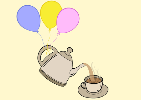 ease: Conceptual illustration with a teapot on balloons