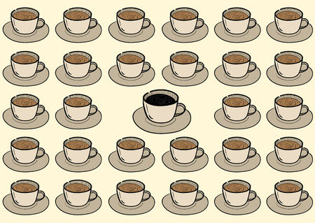 in the ranks: Conceptual illustration with ranks of coffee and not such as all tea