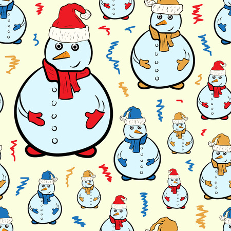 new year's cap: Seamless texture with snowmen in Christmas caps
