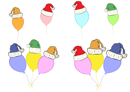 new year's cap: Conceptual illustration with color balloons in Christmas caps