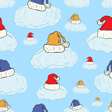 new year's cap: Seamless texture with clouds in Christmas caps