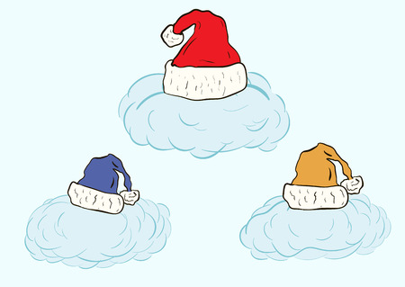 warm things: Three blue clouds in Christmas color caps Illustration