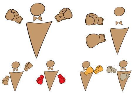 boxing gloves: Collection of icons with boxers in boxing gloves Illustration
