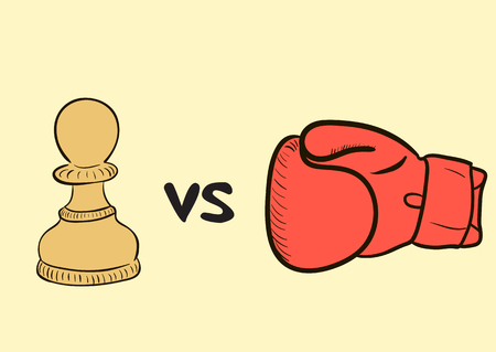 boxing glove: Conceptual illustration with a chess and a boxing glove