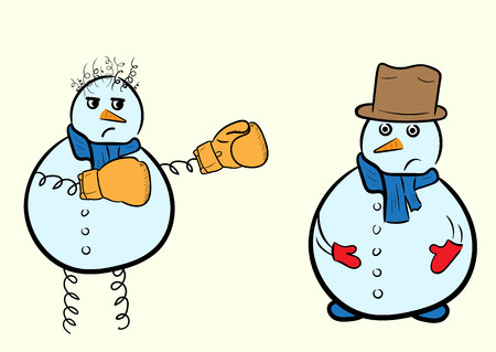 Kind snowman in a hat and a spiteful snowman the boxer