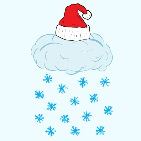 christmas cap: Conceptual illustration with a snow cloud in the Christmas cap