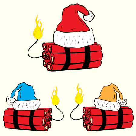 christmas cap: Conceptual illustration with the wick on fire dynamite in the Christmas cap
