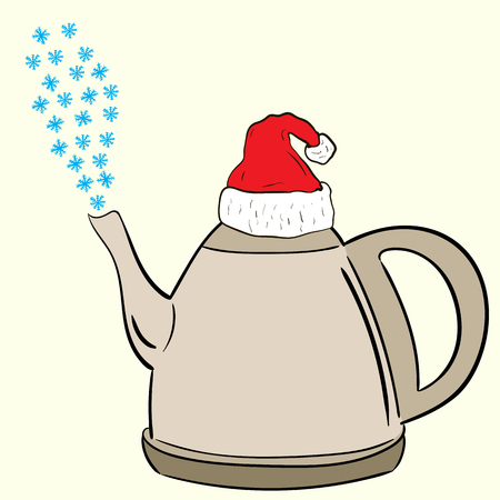christmas cap: Conceptual illustration with a teapot in the Christmas cap with the snow