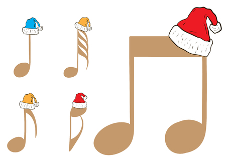 crotchets: Clipart with brown music notes in Christmas caps