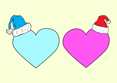 christmas cap: Blue and a pink sign of heart in the Christmas cap
