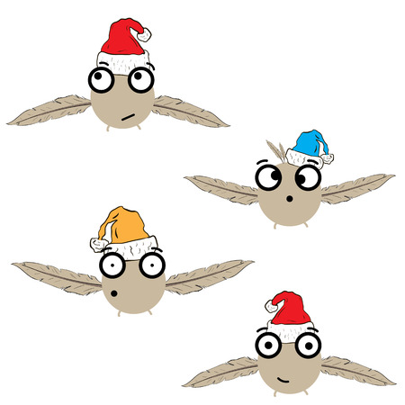 Collection with four Christmas flying monsters in caps