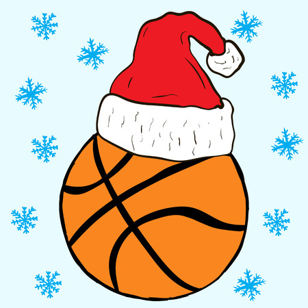christmas cap: Basketball in the Christmas cap and snowfall
