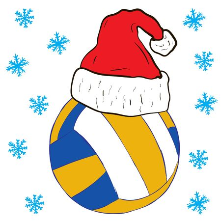 christmas cap: Volleyball in the Christmas cap and snowfall Illustration