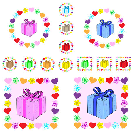 flower illustration: Set of gifts within from hearts and flowers