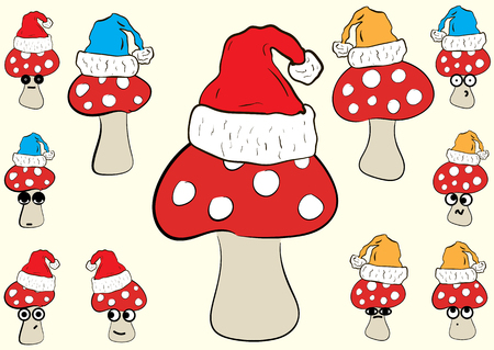 cranky: Clipart with conceptual emotional fly agarics in Christmas caps