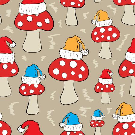 a fly agaric: Seamless texture with Christmas mushrooms fly agarics Illustration