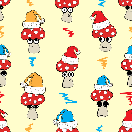 cranky: Seamless texture with emotional Christmas fly agarics Illustration