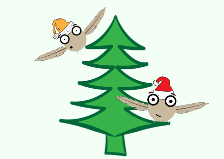 firtree: The flying Christmas monsters in caps on a green fir-tree