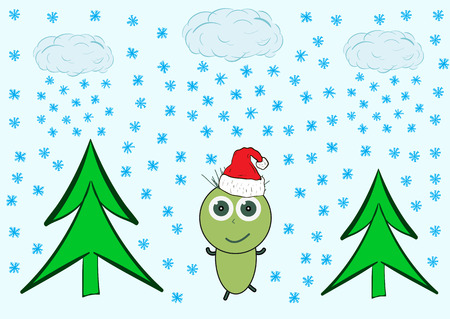 christmas cap: the joyful green little man in the Christmas cap rejoices to snow