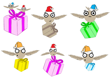 dissatisfied: Clipart with conceptual Christmas monsters with gifts