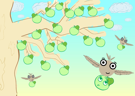 appletree: Conceptual illustration with an apple-tree and the flying monsters Illustration