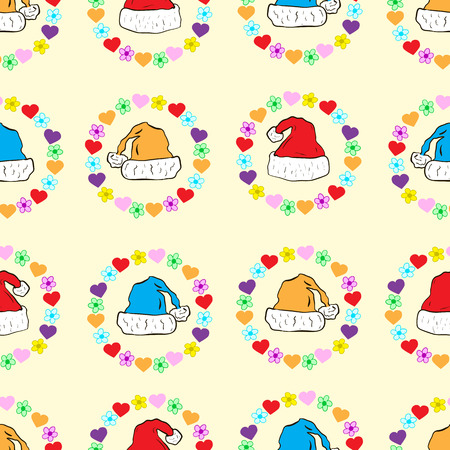 camomiles: Seamless texture with Christmas caps in hearts and camomiles