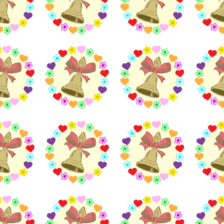 hand bells: Seamless texture with hand bells in flowers and hearts Illustration