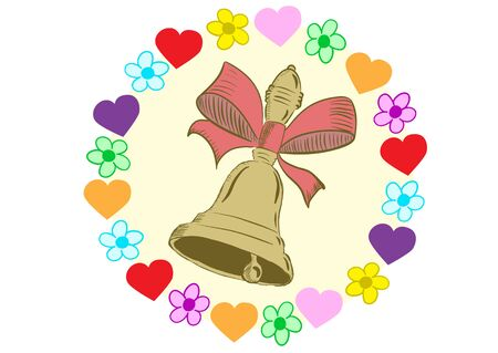 hand bell: The sketch of a hand bell with a tape in flowers and hearts Stock Photo