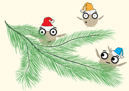 firtree: Three amusing ridiculous positive monsters on a fir-tree branch