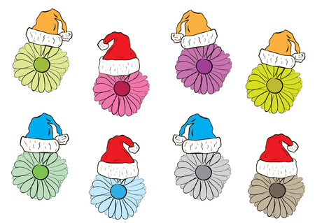 christmas cap: Collection of color camomiles in the Christmas cap Illustration