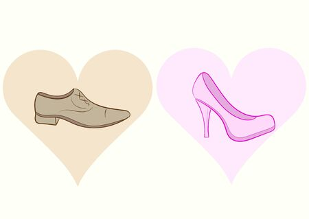 women's shoes: Conceptual illustration with mans and womens shoes in hearts Illustration