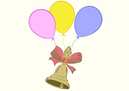 hand bell: School hand bell with a ribbon on balloons