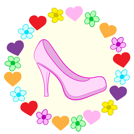 camomiles: Illustration with a pink shoe in a frame of hearts and camomiles