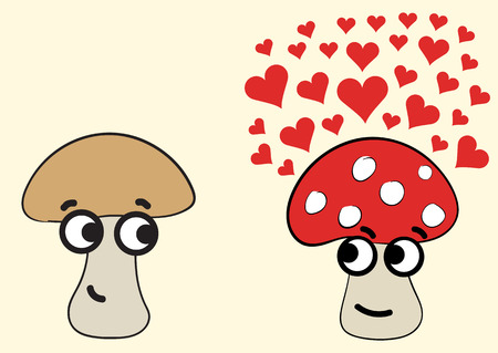 a fly agaric: Conceptual illustration with a mushroom in love and a fly agaric