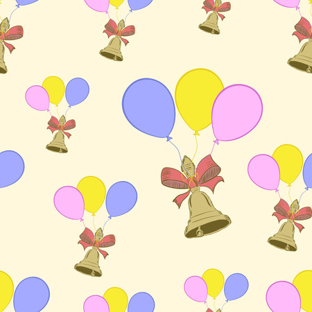 hand bells: Seamless texture with school hand bells on balloons Illustration