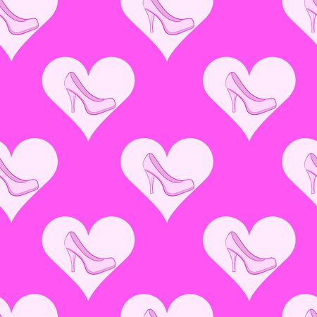pink shoes: Seamless texture with pink shoes in hearts