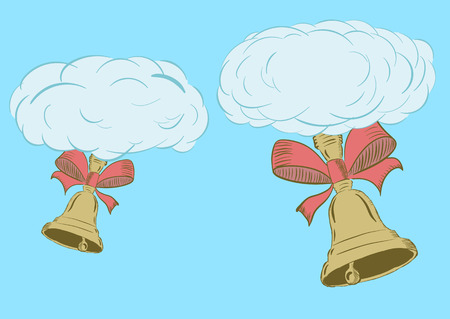 hand bells: Illustration with blue clouds with school hand bells